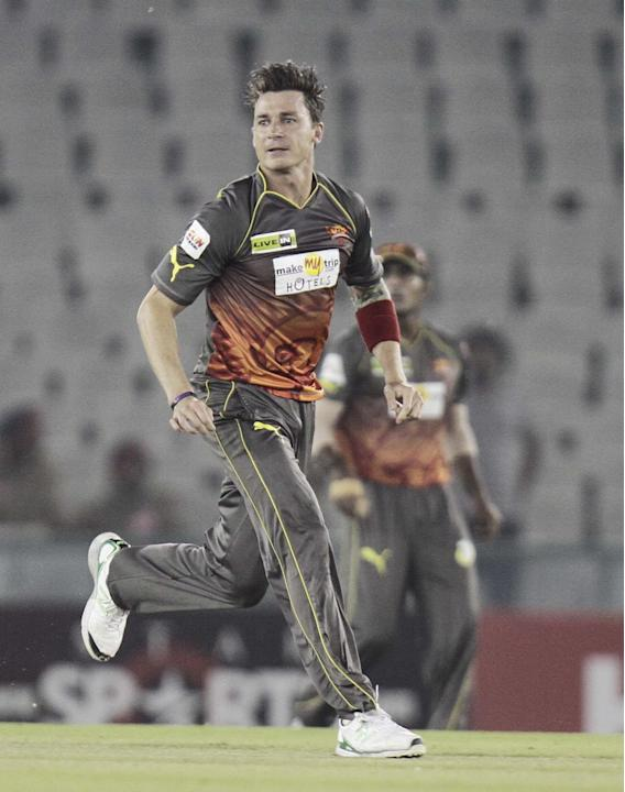 SRH bowler Dale Steyn in action during the CLT20 match between Trinidad & Tobago and Sunrisers Hyderabad at Mohali in Chandigarh on Sept. 24, 2013. (Photo: IANS)