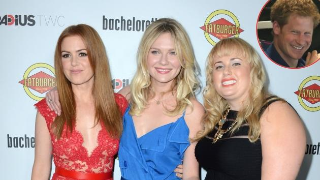 Isla Fisher, Kirsten Dunst and Rebel Wilson at the 'Bachelorette' premiere, inset: Prince Harry -- Getty Images
