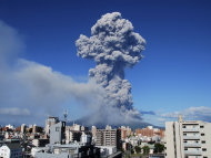 Japan's Sakurajima volcano is spewing a cloud of smoke 5000 metres into the sky