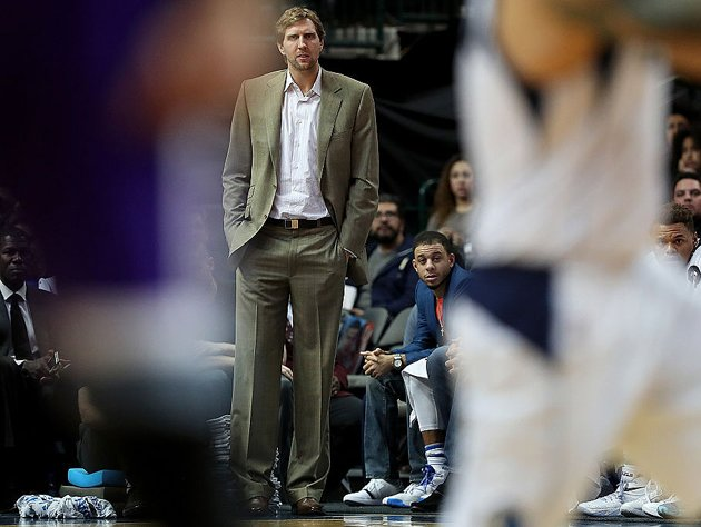 Dirk Nowitzki looks on. (Getty Images)