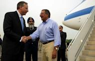 US Ambassador to Singapore David Adelman (left) greets Secretary of Defense Leon Panetta upon his arrival at Paya Lebar Airfield in Paya Lebar, Singapore. Panetta was in Singapore to attend the 11th Aisia Security Summit. Panetta has visited a major base used by US forces in the Vietnam War, as Washington seeks to deepen ties with its former enemy to counter a more assertive posture from China