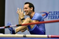 """France's pole-vaulter Renaud Lavillenie reacts during the """"All Star Perche"""" international athletics indoors meeting, at the """"Maison des Sports"""" in Clermont-Ferrand on February 5, 2017"""