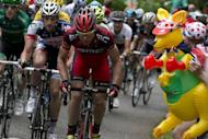 Tour de France 2011 winner, Australia's Cadel Evans (R) rides with Belgium's Jurgen van den Broeck (2nd L) past a kangaroo decoration in the 191 km and fourteenth stage of the 2012 Tour de France cycling race starting in Limoux and finishing in Foix, southern France