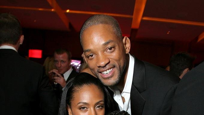 Jada Pinkett Smith, Will Smith and Jaden Smith at the 2007 Vanity Fair Oscar Party.