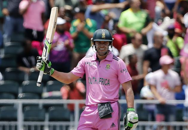 South Africa's captain AB de Villiers celebrates his century during the second One-Day International (ODI) against the West Indies at the Wanderers Stadium in Johannesburg