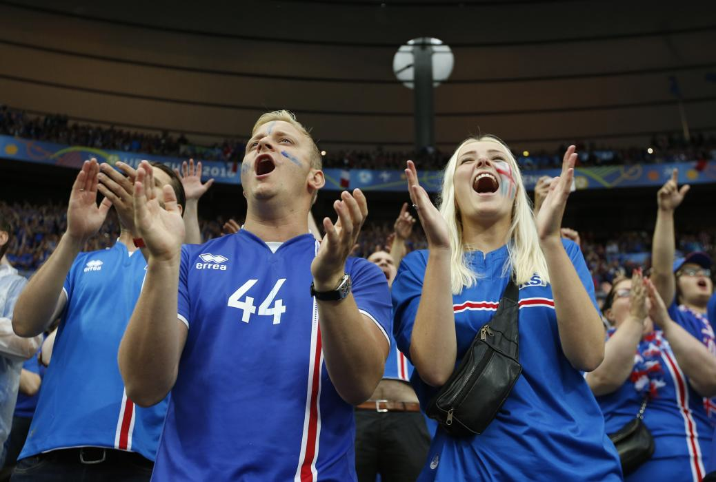 Iceland fans before the game