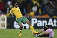 South Africa midfielder Siphiwe Tshabalala (L) during an Africa Cup of Nations Group A match against Cape Verde in Soweto on January 19, 2013. South Africa are set to change the team that fared woefully in the opening round for a Group A match against Angola in Durban on Wednesday