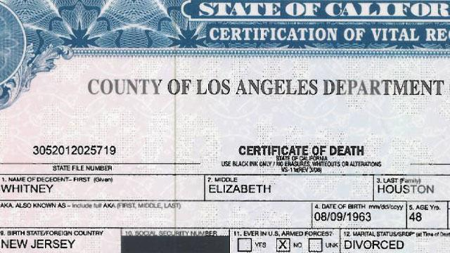 Whitney Houston's Death Certificate Released