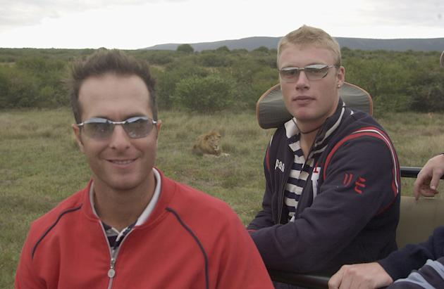 Michael Vaughan and Andrew Flintoff of England pose with a lion