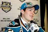 Tomas Hertl, 17th overall pick by the San Jose Sharks, speaks to media during Round One of the 2012 NHL Entry Draft at Consol Energy Center in Pittsburgh, Pennsylvania, on June 22, 2012