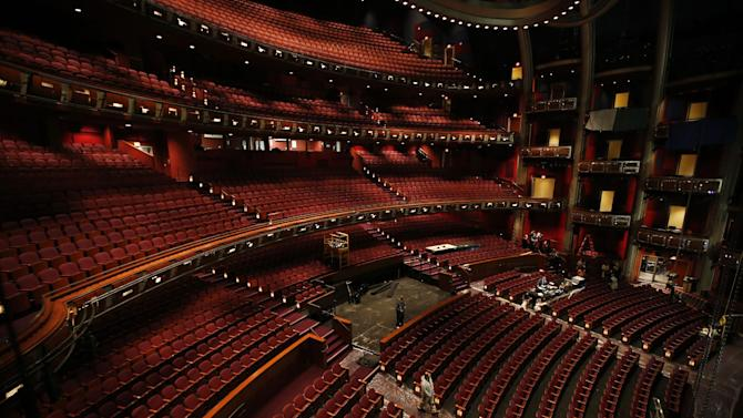 In this Monday, Feb. 11, 2013 photo, the interior of the Dolby Theatre is seen in the Hollywood section of Los Angeles. The 85th Academy Awards will be broadcast from the Dolby Theatre for the first time on Sunday,  Feb. 24, 2013.  (AP Photo/Jae C. Hong)
