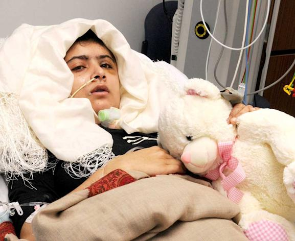 Brave: Malala Yousafzai campaigned for women's rights before she was shot on Oct 9 (AP)