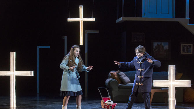 "In this Feb. 22, 2013 photo provided by the New York City Opera, Lauren Worsham as Flora and Benjamin P. Wenzelberg as Miles perform during a dress rehearsal of ""The Turn of the Screw,"" by the New York City Opera at the Brooklyn Academy of Music in New York. (AP Photo/New York City Opera, Richard Termine)"