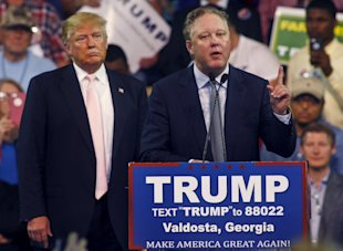 NASCAR CEO Brian France speaks at a campaign rally for Donald Trump. (REUTERS)