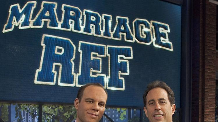 "Tom Papa and Jerry Seinfeld in ""The Marriage Ref."""