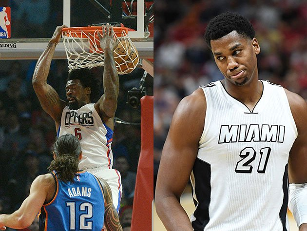 DeAndre Jordan and Hassan Whiteside do their respective things. (Getty Images)