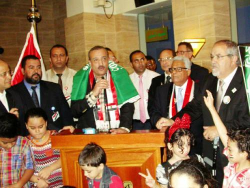 Consul General Adel Al-Alfy addressing Egyptian expatriates in Jeddah during the celebrations. — SG photo