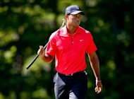 Tiger Woods reacts on the fifth hole during the final round of the Deutsche Bank Championship at TPC Boston in Norton, Massachusetts. Woods made golf history, finishing third in the Deutsche Bank Championship Monday to become the first golfer to make more than $100 million in earnings on the PGA Tour