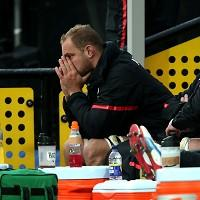 Alistair Hargreaves, pictured, went off on a stretcher a tackle from James Haskell