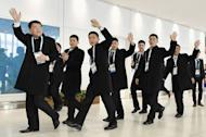 North Korean athletes and officials set to take part in the upcoming Asian Winter Games arrive at the New Chitose Airport in Chitose, Hokkaido, northern Japan in this photo taken by Kyodo February 17, 2017. Mandatory credit Kyodo/via REUTERS