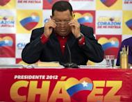 Venezuelan President Hugo Chavez holds a press conference in Caracas on July 9, 2012. Chavez, who on Sunday launched his campaign ahead of the October elections, is facing his first serious election challenge as he vies for a new term that would cement his legacy both at home and abroad as Latin America's leading leftist