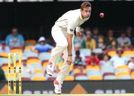 New Zealand fast bowler Tim Southee in action during the first cricket test match between Australia and New Zealand in Brisbane