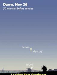 Where to look for Comet ISON low in early dawn on the morning of November 26th. Mercury and Saturn will be much brighter; start with them to find the spot to examine for the comet with binoculars. (The comet symbol is exaggerated.) For scale, t