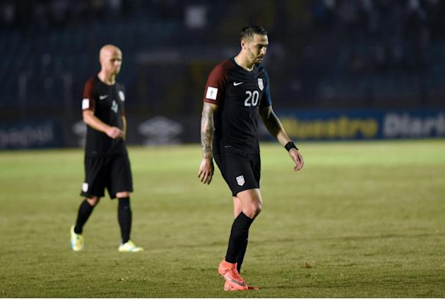 Geoff Cameron looks dejected after USA is defeated by Guatemala 2-0 in their 2018 World Cup Concacaf qualifying match in March