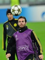 Chelsea's Juan Mata trains at Juventus Stadium in Turin. While Chelsea's record in Italy is far from illustrious it is arguably their current dip in form that is giving Juventus most hope on Tuesday