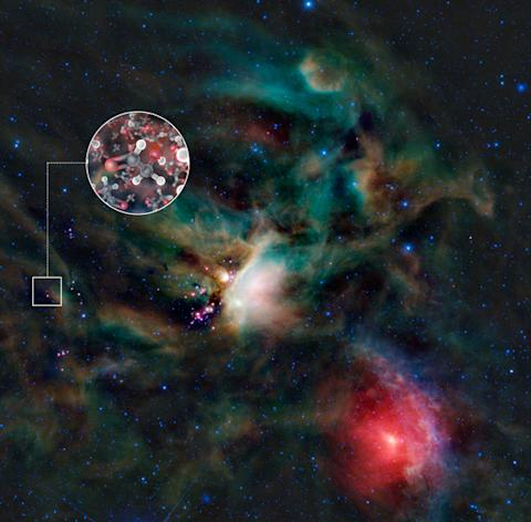 This image shows the Rho Ophiuchi star-forming region in infrared light, as seen by NASA's Wide-field Infrared Explorer (WISE). IRAS 16293-2422 is the red object in the center of the small square. The inset image is an artist's impression of gl