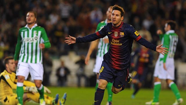 Liga - Messi breaks goals record as Barcelona beat Betis