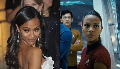 Zoe Saldana at the 2013 Academy Awards (left) and as Star Trek's Uhura (right).