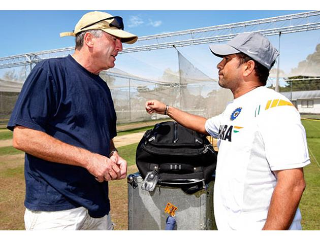 (L-R) Former Indian coach John Wright talks to Sachin Tendulkar of India after an Indian nets session at the NZC High Performance Centre on February 22, 2009 in Lincoln, New Zealand. (Photo by Martin