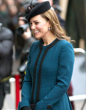 "Kate Middleton Gets ""Baby on Board"" Button, Pregnancy Curves Concealed With Long Blue Coat at London"