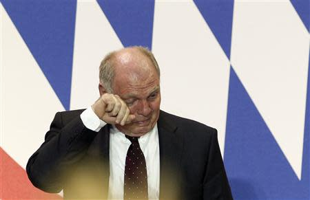 File photo of Bayern Munich's President Hoeness reacting during an annual meeting of the German Bundesliga first division soccer club in Munich