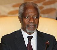 UN-Arab League envoy Kofi Annan attends an Arab ministerial committee meeting in Doha. Annan has warned of an all-out sectarian war in Syria and urged President Bashar al-Assad to act to end the conflict
