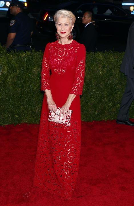 """Actress Helen Mirren arrives at the Metropolitan Museum of Art Costume Institute Gala 2015 celebrating the opening of """"China: Through the Looking Glass,"""" in Manhattan"""