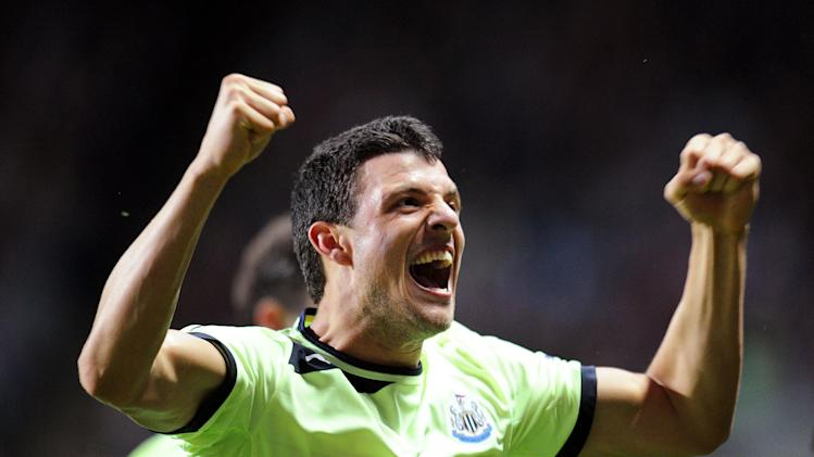 Haris Vuckic celebrates scoring the opening goal