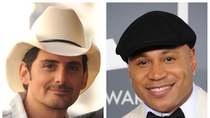 "FILE - This combination of file photos shows Brad Paisley, left, in Hollywood, Calif. on Nov. 1, 2011 and LL Cool J in Los Angeles on Feb. 10, 2013. Southern white men don't usually drive racial dialogue. For as long as race has riven America, they have been depicted more often as the problem than the solution. So the country music star must have been unsurprised at the days of widespread criticism of his new song ""Accidental Racist,"" which details the challenges facing a ""white man from the southland"" and then features LL Cool J rapping a black perspective. (Photos by Jordan Strauss/Invision/AP, File)"