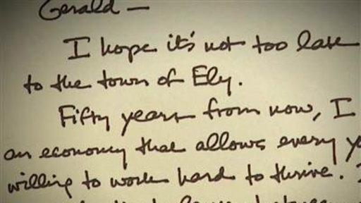 Obama Handwrites Letter to Small Town