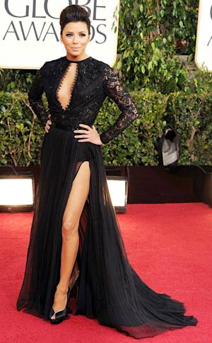 Eva Longoria Stuns in Revealing Gown, Shows Off Leg In Floor-Length Black Lace Dress at Golden Globes