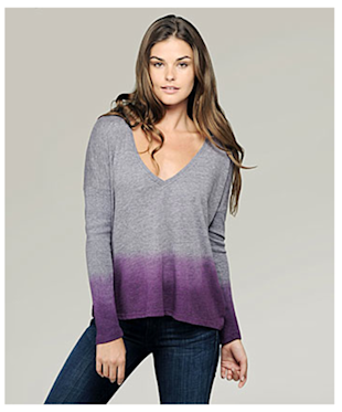 C&C California long sleeve v-neck rectangle tee, $64.90