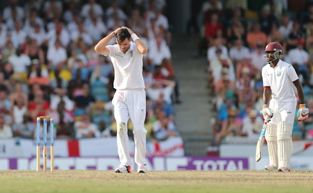 Cricket: England's James Anderson reacts