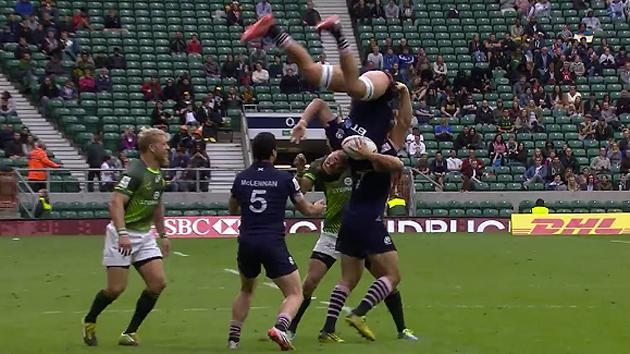 Incredible backflip catch in Rugby Sevens