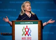 US Secretary of State Hillary Clinton speaks during the 19th International AIDS Conference in Washington, DC. The United States is committed to the goal of an AIDS-free generation and will step up its efforts to stem the world pandemic, Clinton told the conference