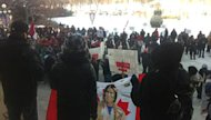 Idle No More protestors gather in front of the Manitoba legislative building on Monday.