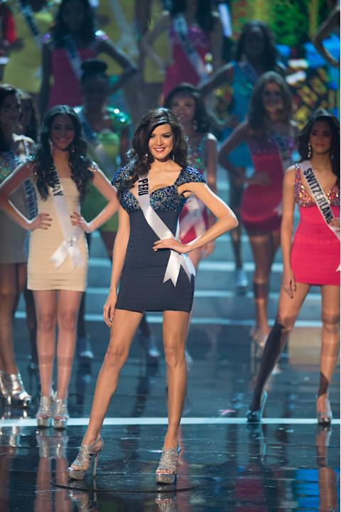 Miss Universe Peru 2012, Nicole Faveron, is announced as one of the top sixteen contestants in her Sherri Hill dress and Chinese Laundry shoes during this year's LIVE NBC Telecast of the 2012 Miss Uni