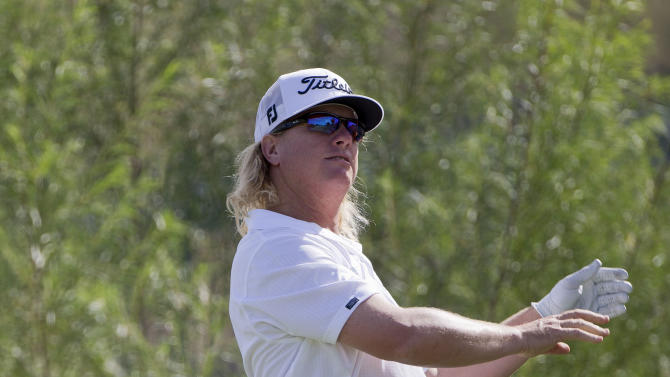 Charley Hoffman drops his club after hitting his tee shot into the rough on the sixth hole during the Justin Timberlake Shriners Hospitals for Children Open golf tournament on Thursday, Oct. 4, 2012, in Las Vegas. (AP Photo/Julie Jacobson)