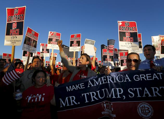 Members of the culinary workers union local 226 demonstrate outside the Trump Hotel prior to the arrival of democratic U.S. presidential candidate and former Secretary of State Hillary Clinton who spo