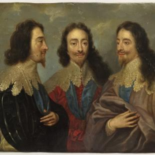 "This image provided by the Monuments Men Foundation shows a copy of a painting titled ""King Charles I in Three Positions Kings,"" possibly attributed to the school of Anthony an Dyck, oil on copper. The painting, one of five missing since World War II, are being returned to collections in Germany at the behest of the heirs of their American acquirers.  It had been in a castle near Frankfurt that was confiscated by the U.S. military in 1945 and turned into an officers' club. They were purchased by an American woman who was serving in Germany as a librarian in the U.S. Special Services after the war, said the Monuments Men Foundation. (Anna Bottinelli/Monuments Men Foundation via AP)"